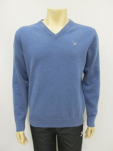 Gant superfine lambswool v neck stone blue 86212489