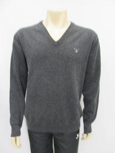 Gant superfine lambswool v neck antraciet 8621295