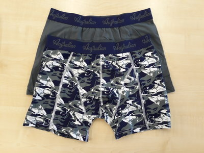 Australian boxershorts 2 pack print grijs aus1602