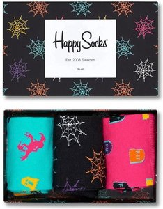 Happy socks Halloween giftbox 3pack zwart rose groen XHAL089000